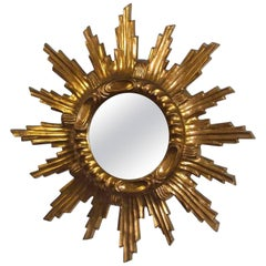 Starburst Sunburst Gilded Wood and Composition Mirror, Italy