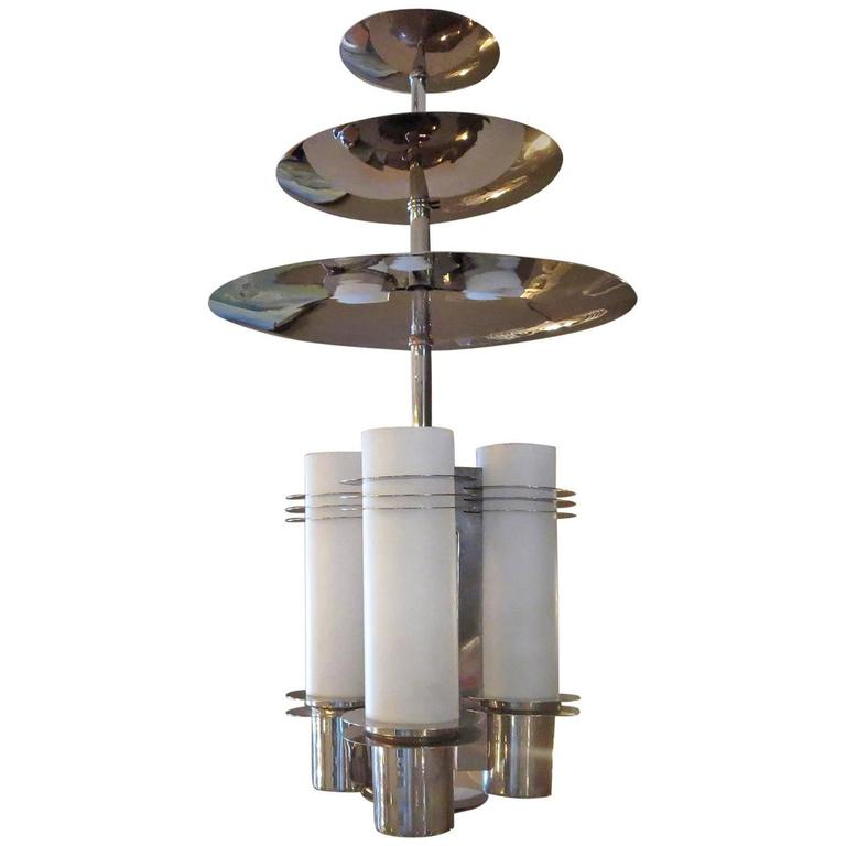 Art Deco Chandelier in Polished Nickel and Glass For Sale
