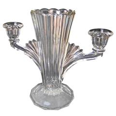 Ard Deco Vase/Candleholder Out of Clear Pressed Glass with Optic