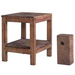 Pine Industrial Work Table with Stool, circa 1930