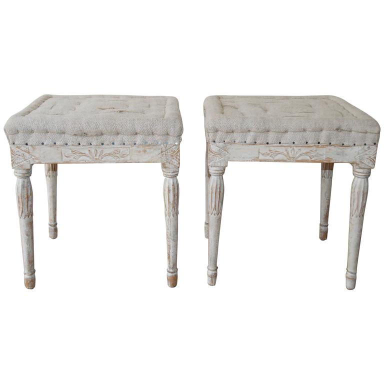 Signed Pair of Swedish Period Gustavian Stools