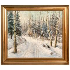 Original Winter Landscape Oil Painting Signed Jens Chr. Bennedsen
