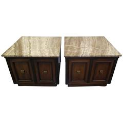 Manner of Harvey Probber Travertine Top End Tables