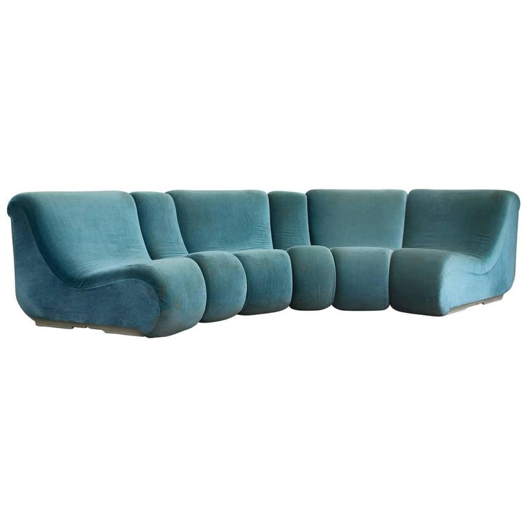 1969 burkhardt vogtherr for rosenthal studio linie turquoise modulares sofa for sale at 1stdibs. Black Bedroom Furniture Sets. Home Design Ideas