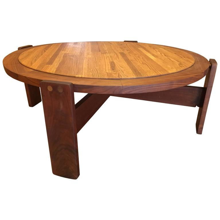 Massive Large Coffee Table By Lou Hodges California Design Walnut And Oak For