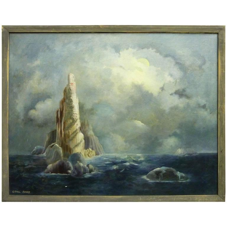 Ethel Sharp Surreal Oil on Canvas of Island and Clouds