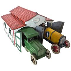 Antique Toy Two Car Garage with Autos by Lehman, Germany, circa 1927
