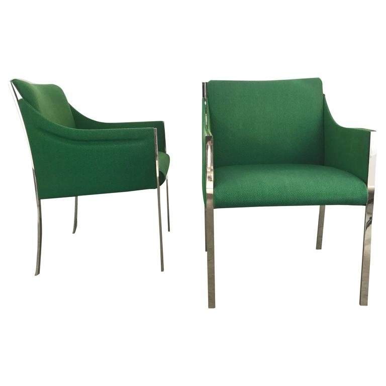 Rare Chromed Steel and Wool Lounge Chairs by Jens Risom