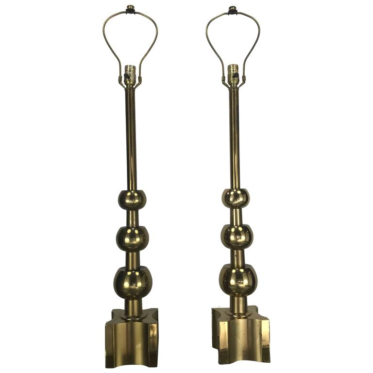 Pair of Brass Table Lamps Attributed Tommi Parzinger, 1970s by Stiffel
