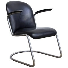 1935, W.H. Gispen, by Gispen Culemborg, 413 Easy Chair in Original Black Vinyl