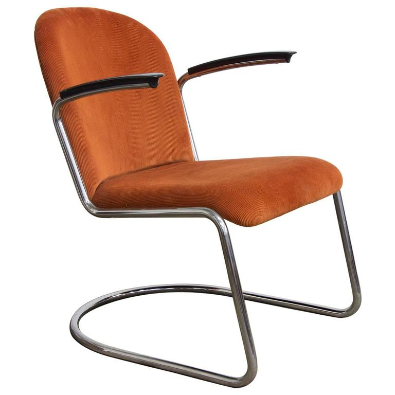 1935, W.H. Gispen by Gispen Culemborg, 413 Easy Chair in Terra Corduroi Fabric For Sale
