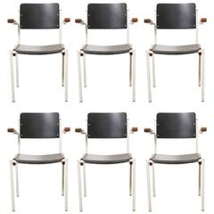 Set of Six Industrial Stacking Armchairs Designed by W Gispen for Riemersma