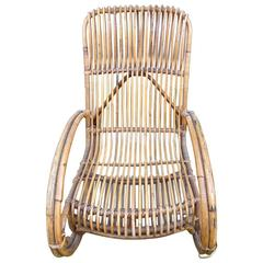 Beautiful Wicker Rocking Chair by Audoux Minet, circa 1960