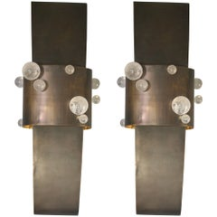 Pair of Sconces in Brass Patinated and Rock Crystal, Model Bijou by Arriau
