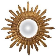 Convex Starburst Sunburst Gilded Resin Mirror, France