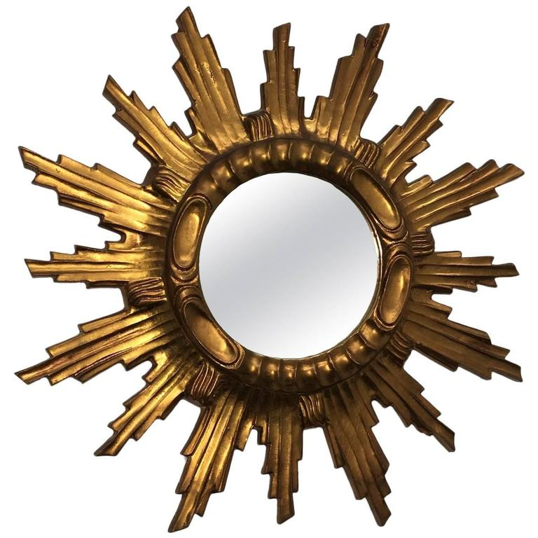 Starburst Sunburst Gilded Wood and Composition Mirror Italy For Sale