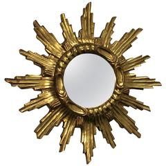 Starburst Sunburst gilded Wood and Composition Mirror Italy
