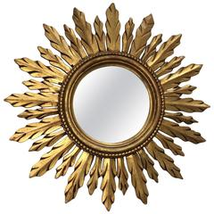 Beautiful Sunburst Gilded Wood Mirror Vintage, France