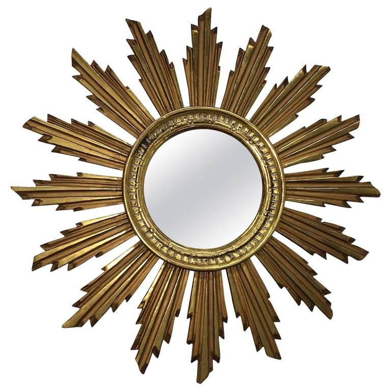 Vintage Snowflake Starburst Giltwood Mirror, France For Sale