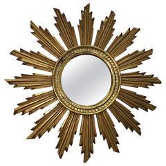 Vintage Snowflake Starburst Giltwood Mirror, France