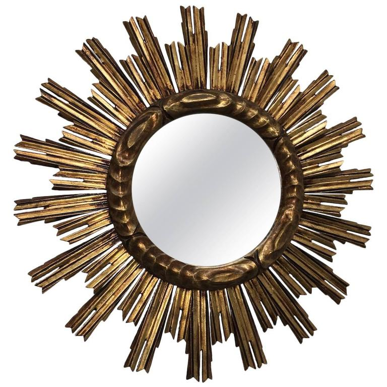 Exceptional Starburst Giltwood Mirror Vintage Italy by Moroder For Sale