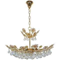 Palwa Crystal Flower Chandelier Mid-Century, German