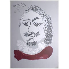 Picasso's Imaginary Portrait Signed and Dated Original Lithograph, France, 1969