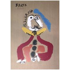 Picasso's Signed and Dated Original Lithograph Portrait Imaginaire, France,1969