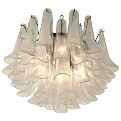 Clear Hazy Glass Petal  Chandelier from Mazzega , 1970s , Murano , Italia