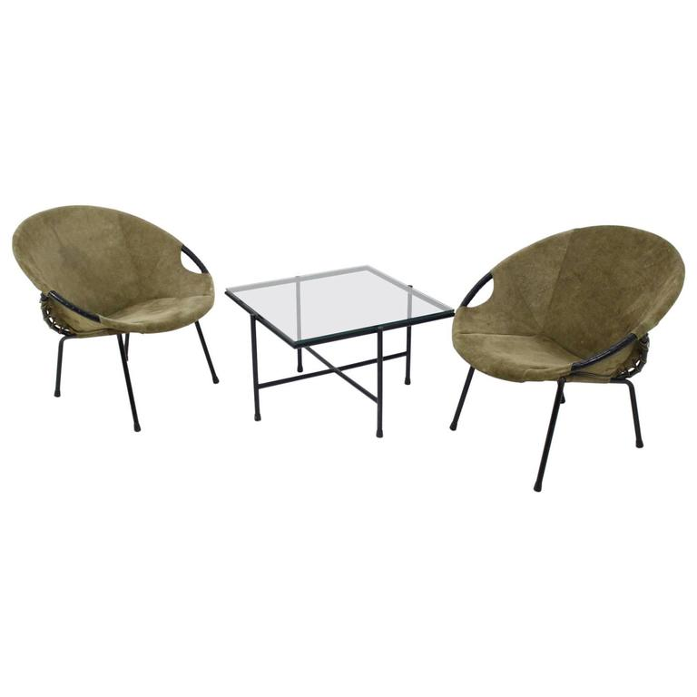 "Circle Chair set of 2 lusch and co. ""circle chair ""armchairs and table, lusch"