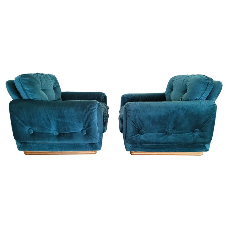Pair of French Lounge Armchairs, circa 1970