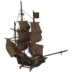 Antique Folk Art Model Galleon Mayflower Plymouth 1620 American Pilgrim Fathers