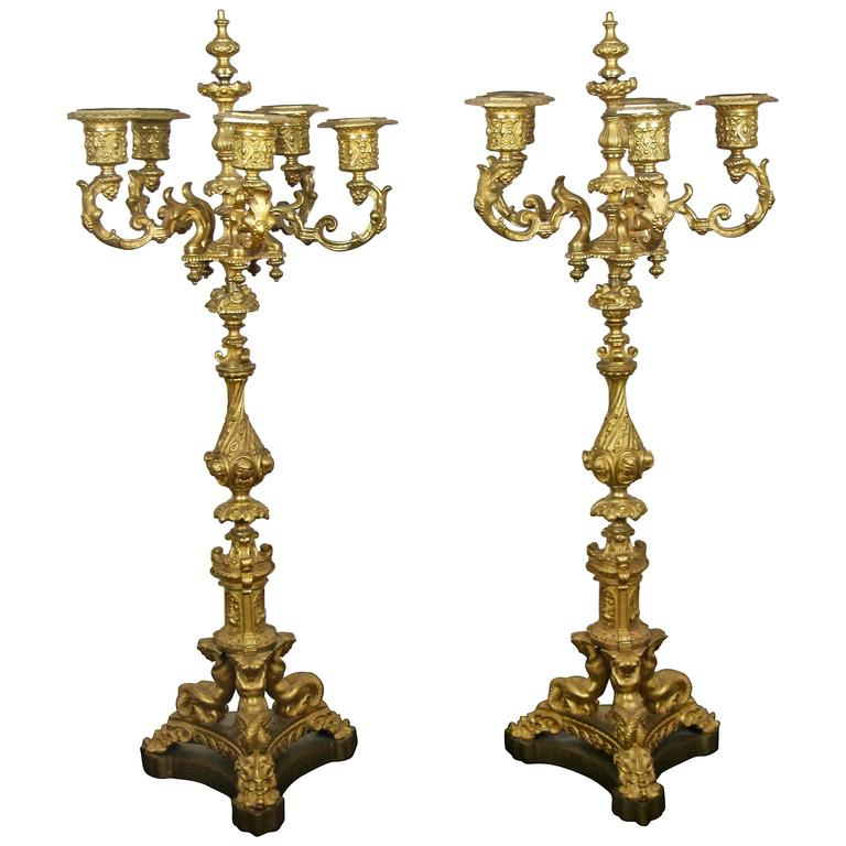 Pair of 19th Century Bronze Doré Candelabra