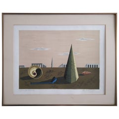 Surrealist Chirico Inspired Etching by Jean Picart Le Doux, France, 1950