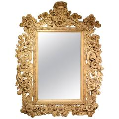 Large and Decorative Carved and Bleached Oak Mirror