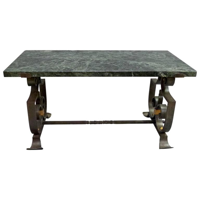 Wrought iron and marble coffee table for sale at 1stdibs for Marble and wrought iron coffee table