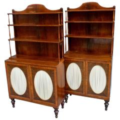 A Pair of Rosewood Waterfall Bookcases