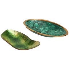 Paolo de Poli Enameled Green Dish and Brass Malachite Dish Mid-Century, 1950