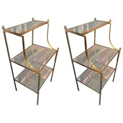 Maison Jansen Chicest Neoclassic Pair of Bronze Three Tiers Side Tables
