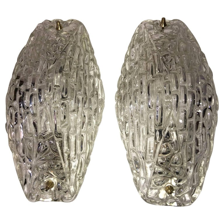 Pair of 1960s Textured Glass Sconces For Sale