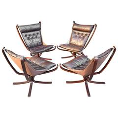 Huge Set of Four Sigurd Ressel Falcon Armchairs, circa 1960