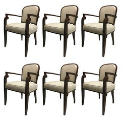 Jules Leleu Chicest Rare Six Dinning Chairs Newly Covered in Neutral Cloth, Set