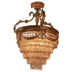 French Bronze and Crystal Chandelier