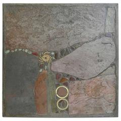 Paul Kingma Multicolored Slate and Stone Art Coffee Table