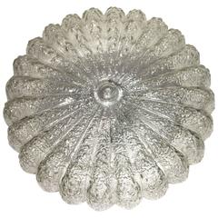 1960s Glass Flower Shape Flush Mount Chandelier
