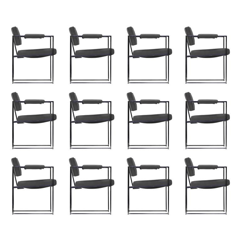 Ten Thin Line Dining Chairs by Milo Baughman