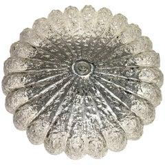 1960s Glass Flower Shape Flush Mount Chandelier