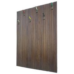 Large Italian Wall-Mounted Coat Rack with Colored Hooks in Brass