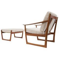 Danish Modern Lounge Chair and Ottoman by Peter Hvidt & Orla Mølgaard-Nielsen