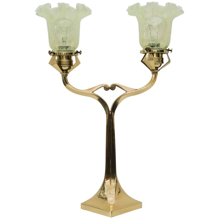 Rare Charming Solid Table Lamp with Beautiful Opaline Glass Shade
